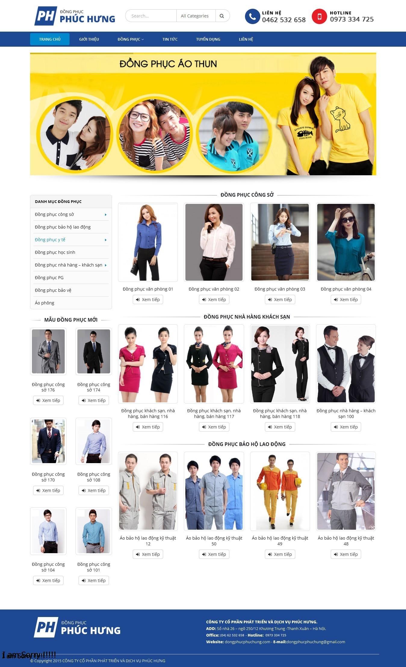 Thiết kế web thời trang, may mặc, đồng phục công ty