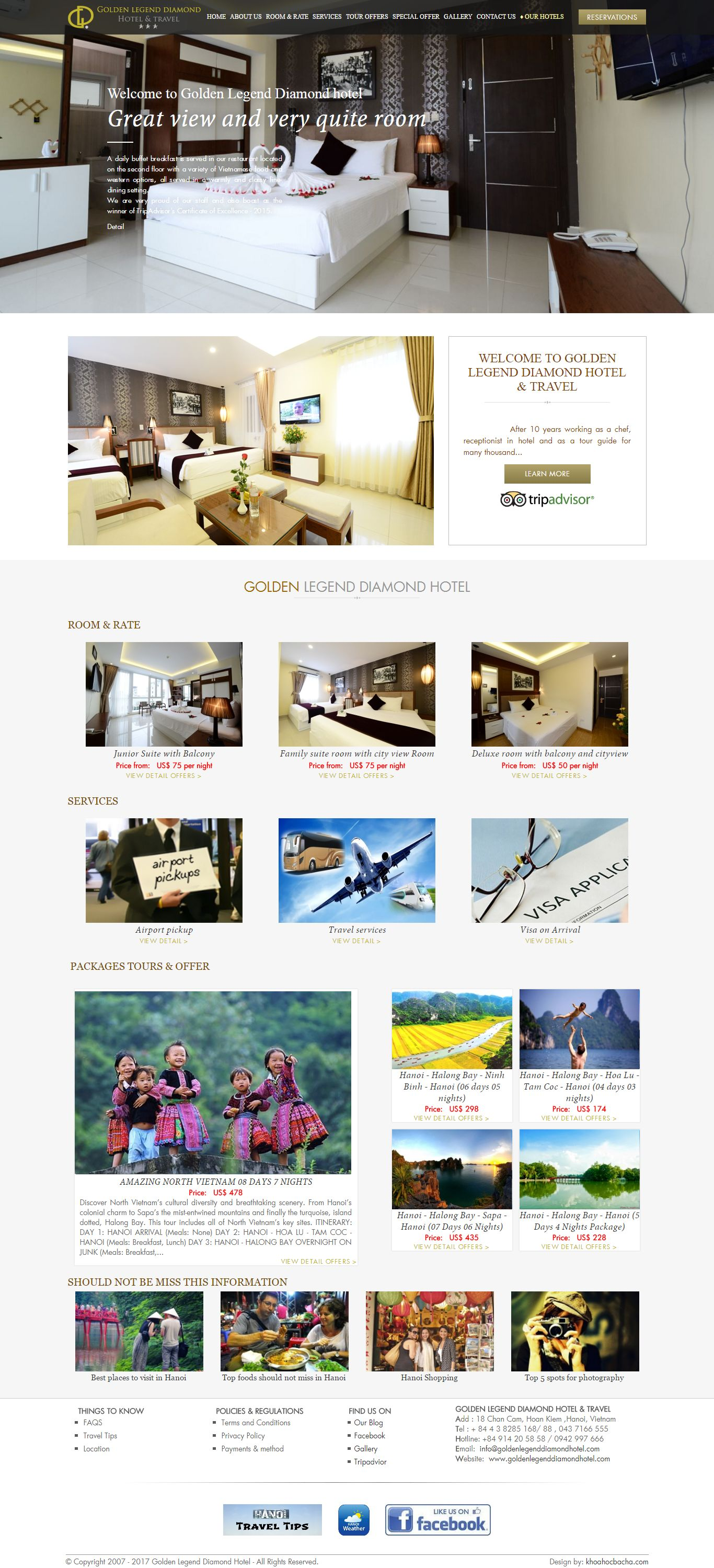 Thiết kế website Golden Legend Diamond Hotel