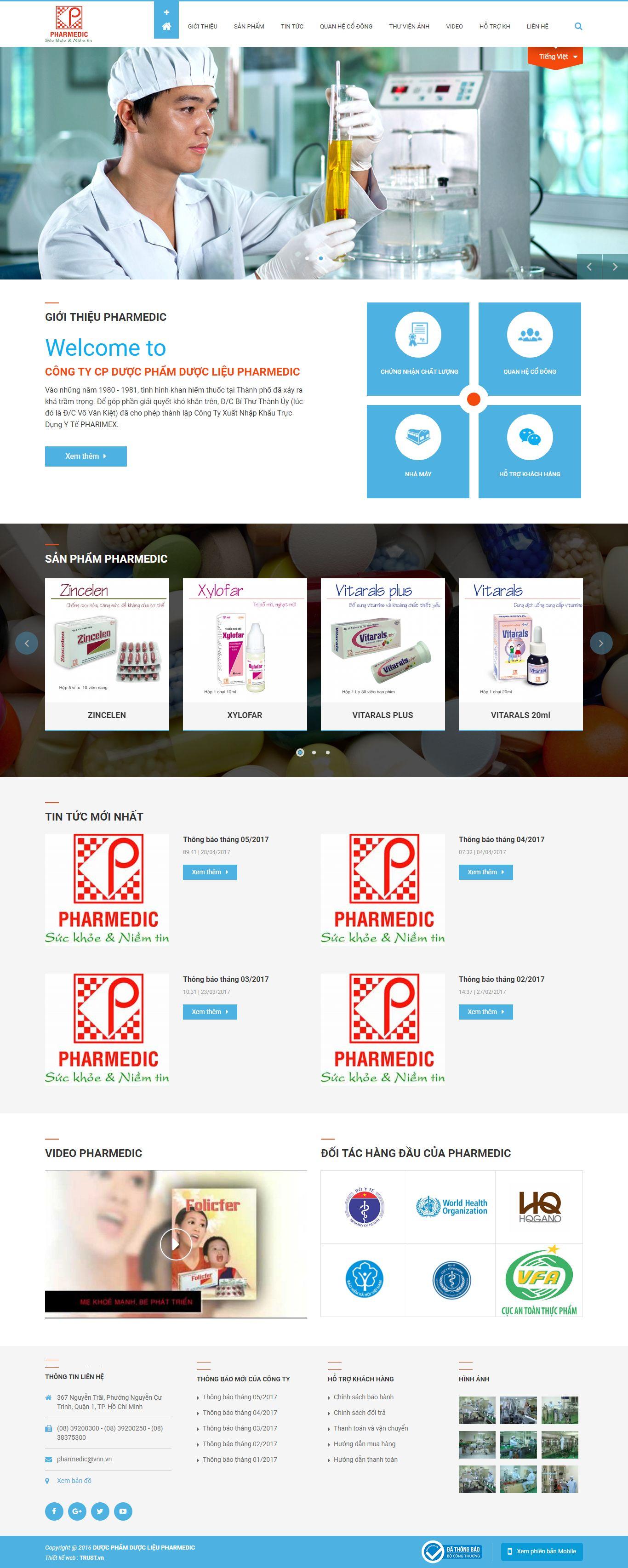 Thiết kế website dược phẩm pharmedic đẹp, chuyên nghiệp chuẩn SEO