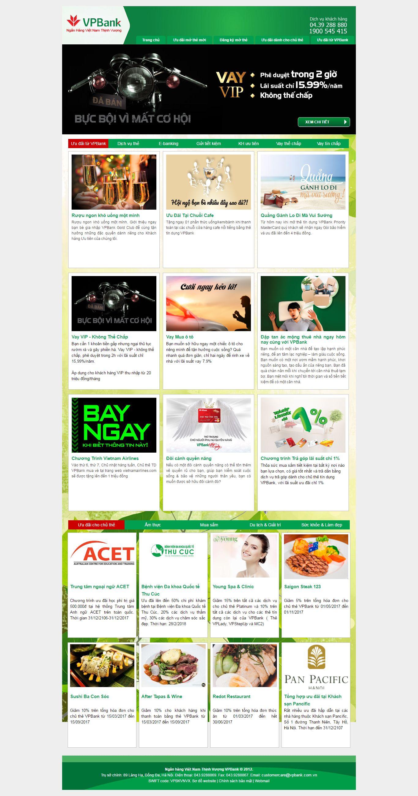 Thiết kế website ưu đãi cá nhân VP bank đẹp, chuyên nghiệp chuẩn SEO