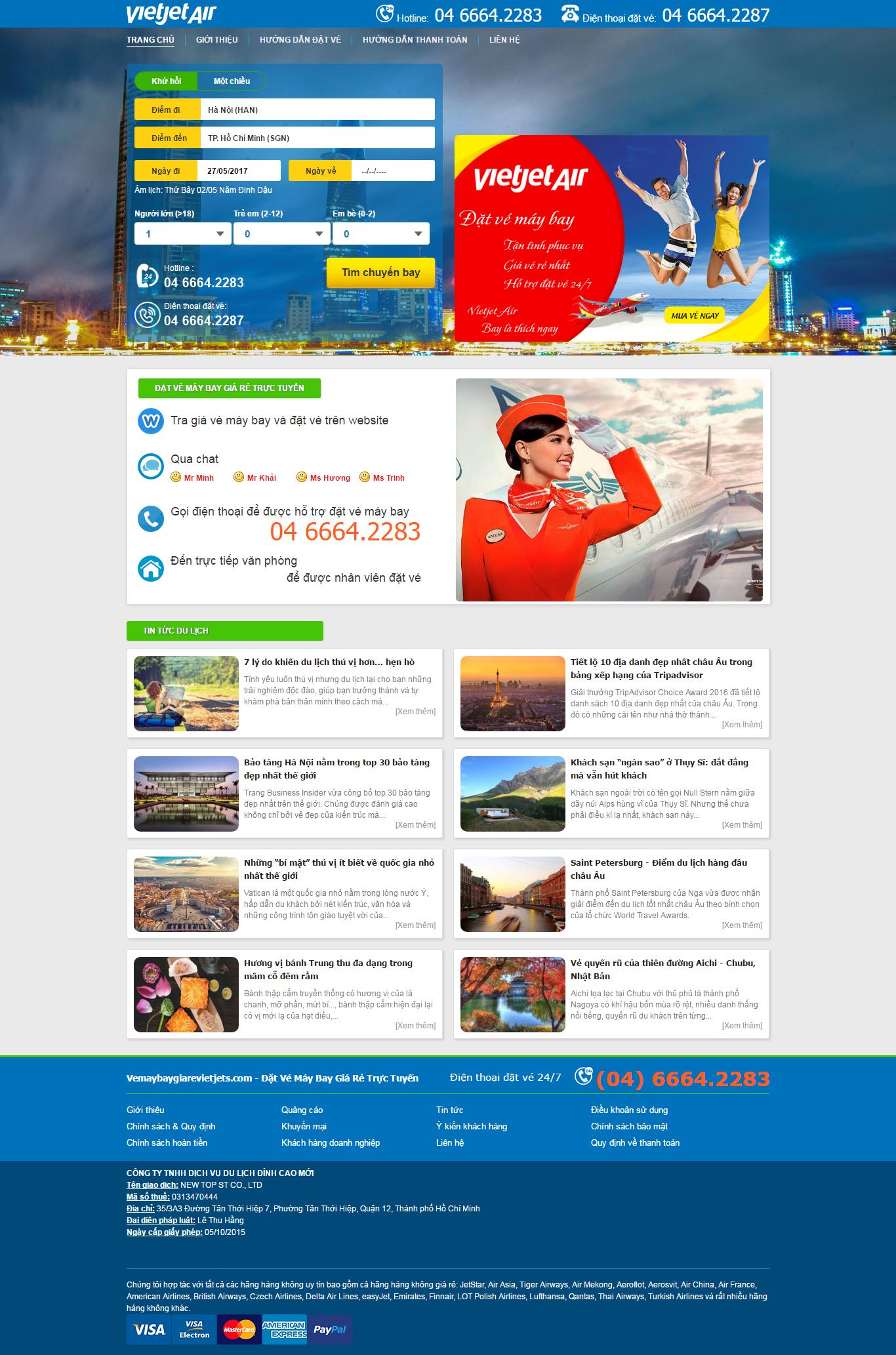 Thiết kế website vé máy bay vietjet air  đẹp, chuyên nghiệp chuẩn SEO