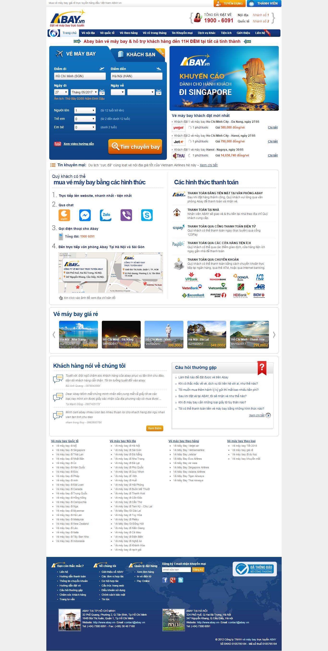 Thiết kế website mua vé máy bay giá rẻ Abay đẹp SEO nhanh hiệu quả