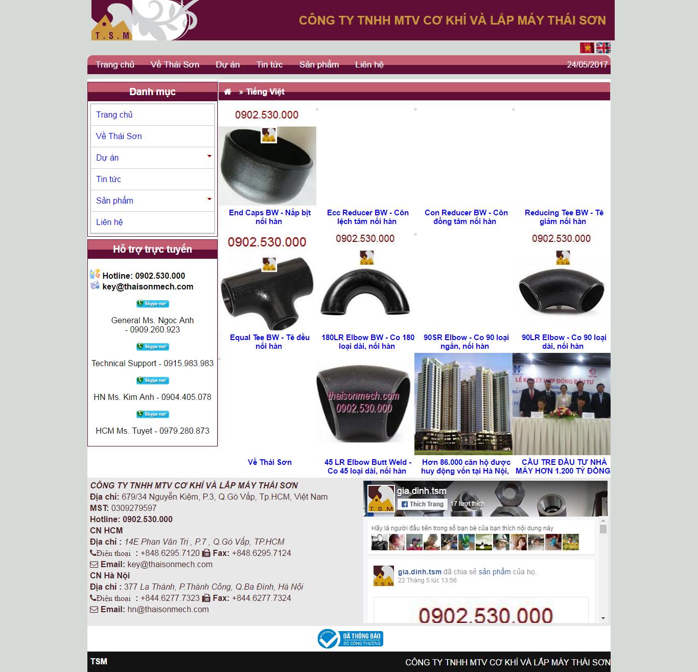 Thiết kế website cơ khí thaisonmech đẹp, chuyên nghiệp chuẩn SEO