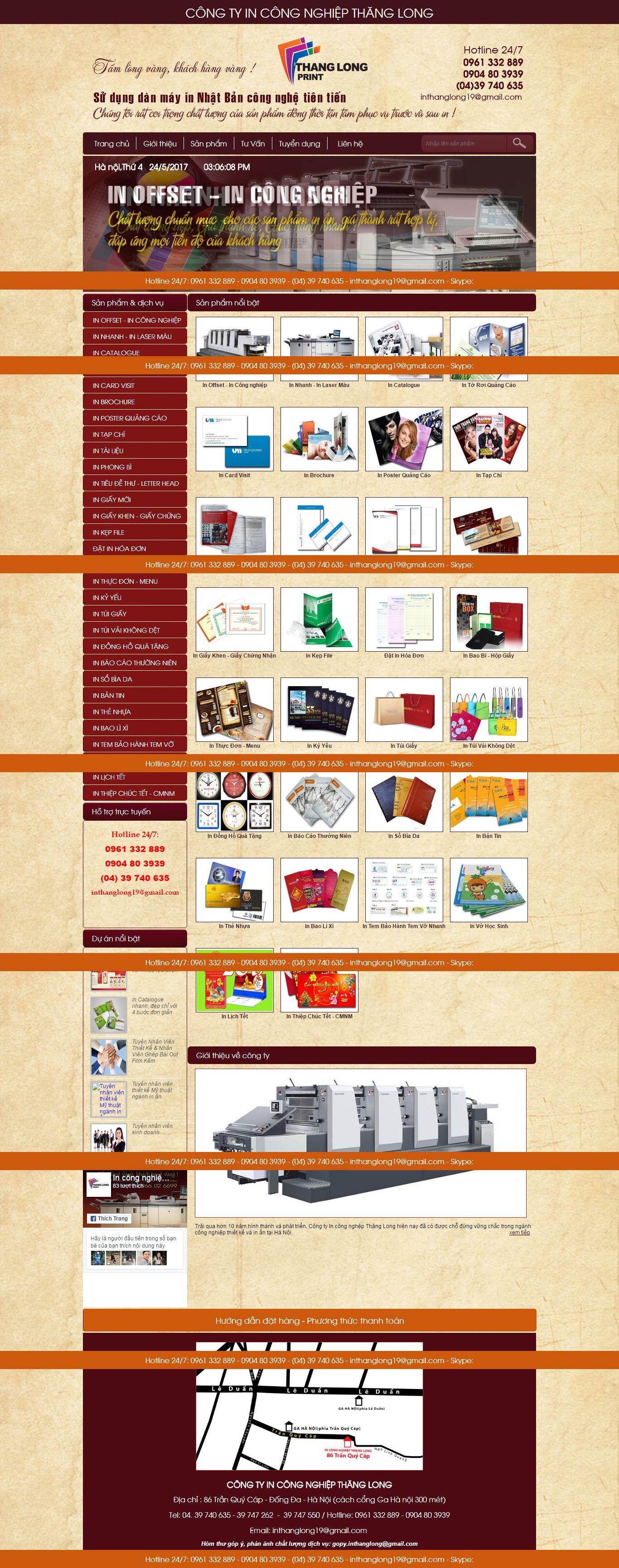 Thiết kế website in ấn Thăng Long đẹp, chuyên nghiệp chuẩn SEO