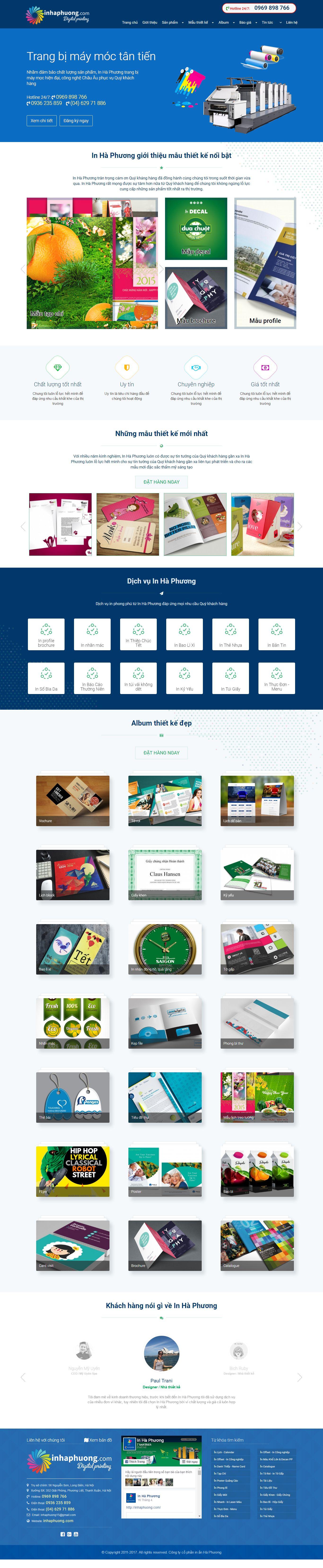 Thiết kế website in ấn Hà Phương đẹp, chuyên nghiệp chuẩn SEO