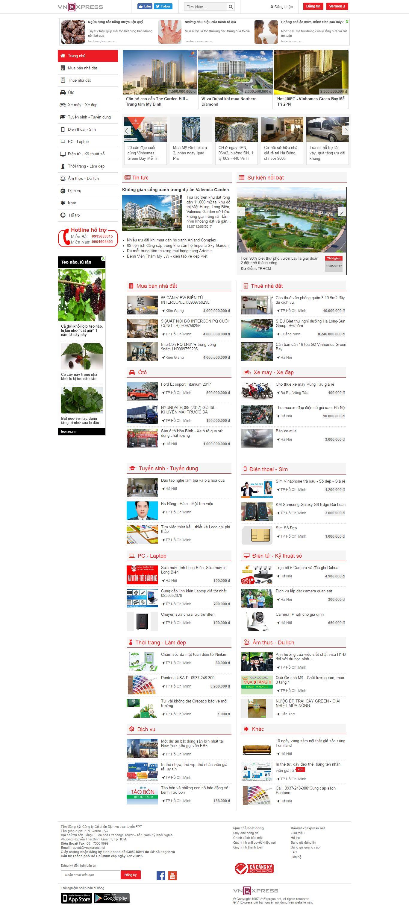 Thiết kế website mua án rao vặt VnExpress đẹp, chuyên nghiệp chuẩn SEO