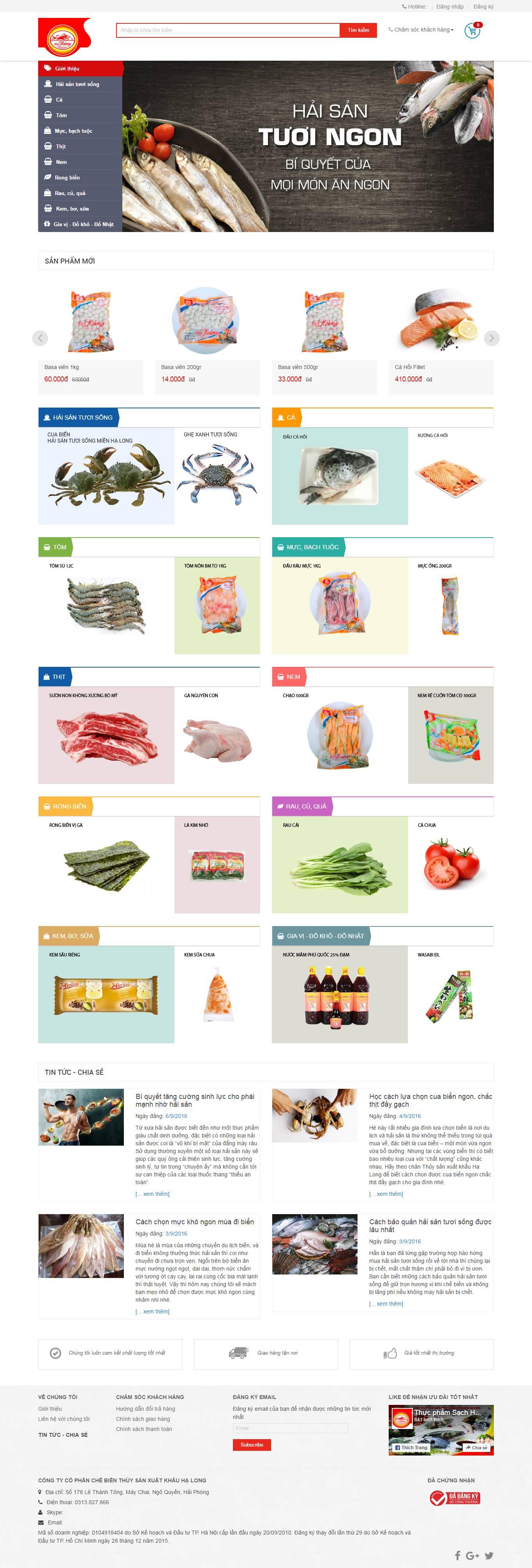 Thiết kế website Hải sản đẹp, chuyên nghiệp chuẩn SEO