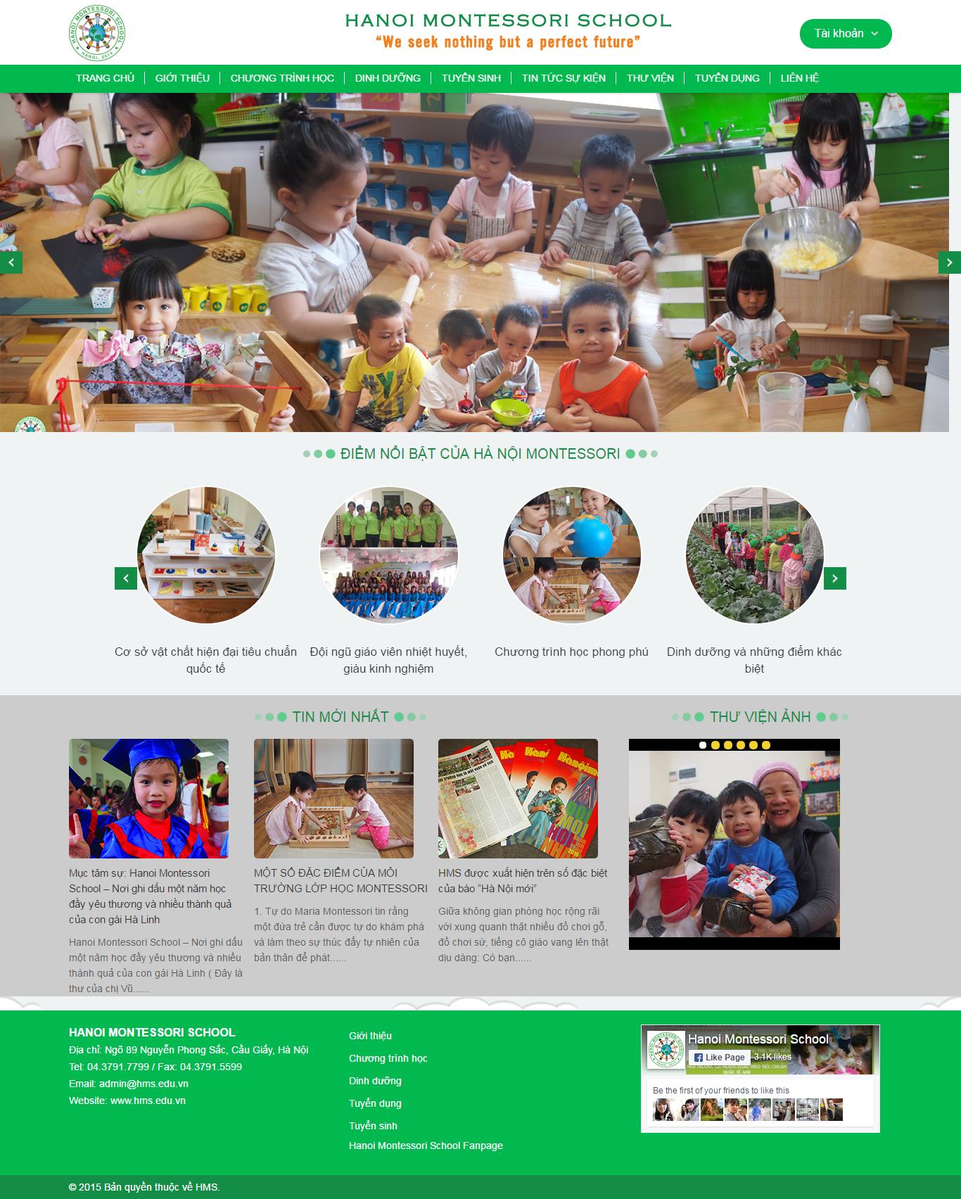 Thiết kế website mầm non  HÀ NỘI MONTESSORI đẹp SEO nhanh hiệu quả
