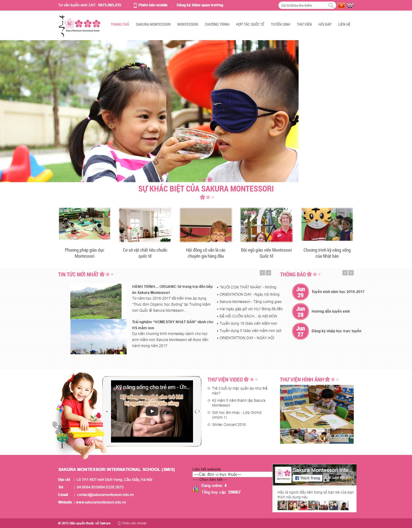 Thiết kế website trường mầm non quốc tế Sakura montessori