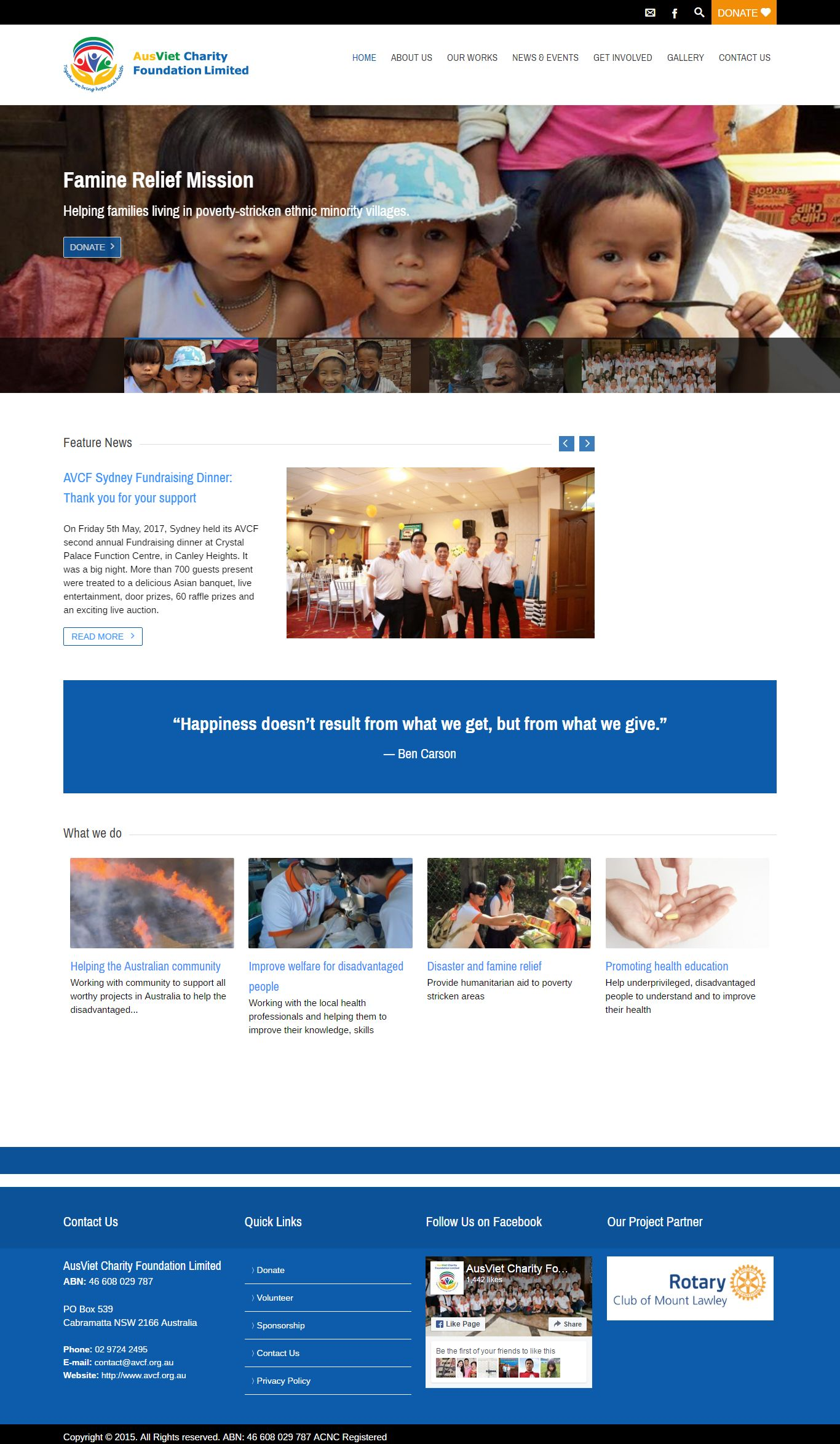 Thiết kế website tổ chức từ thiện AusViet Charity Foundation Limited