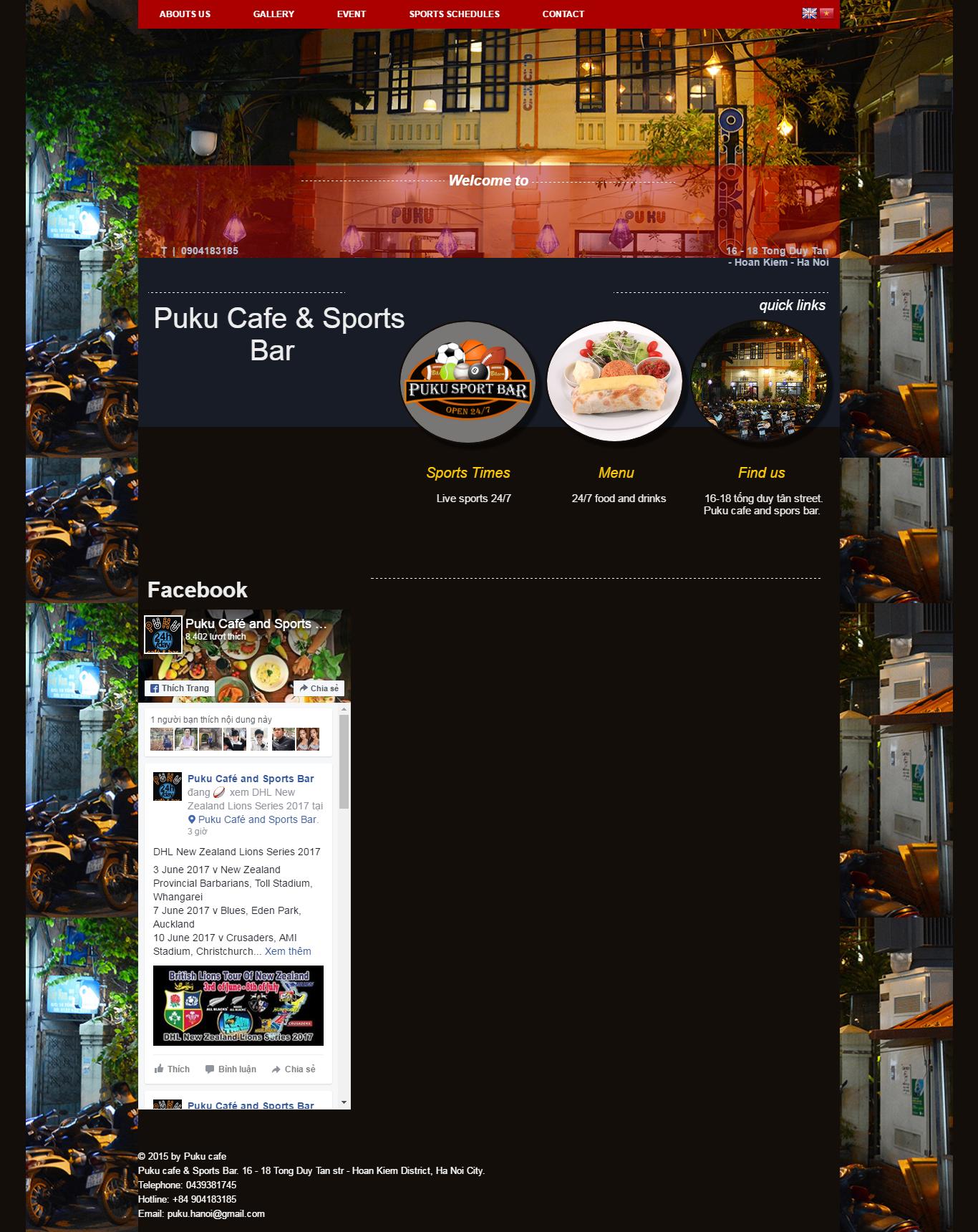 Thiết kế website Puku cafe & Sports Bar đẹp, chuyên nghiệp chuẩn SEO