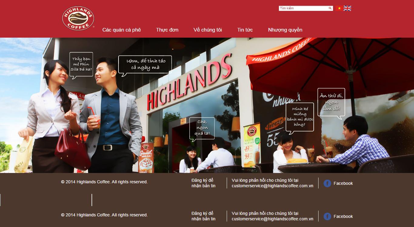 Thiết kế website Highlands Coffee đẹp, chuyên nghiệp chuẩn SEO