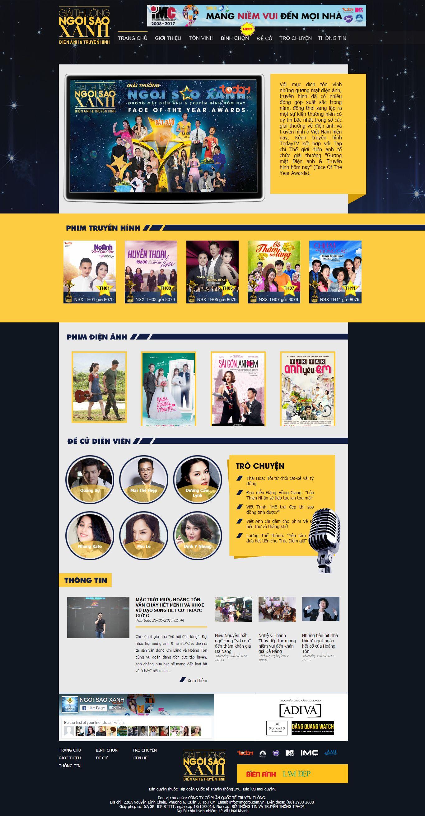 Thiết kế website giải thưởng điện ảnh Việt Nam