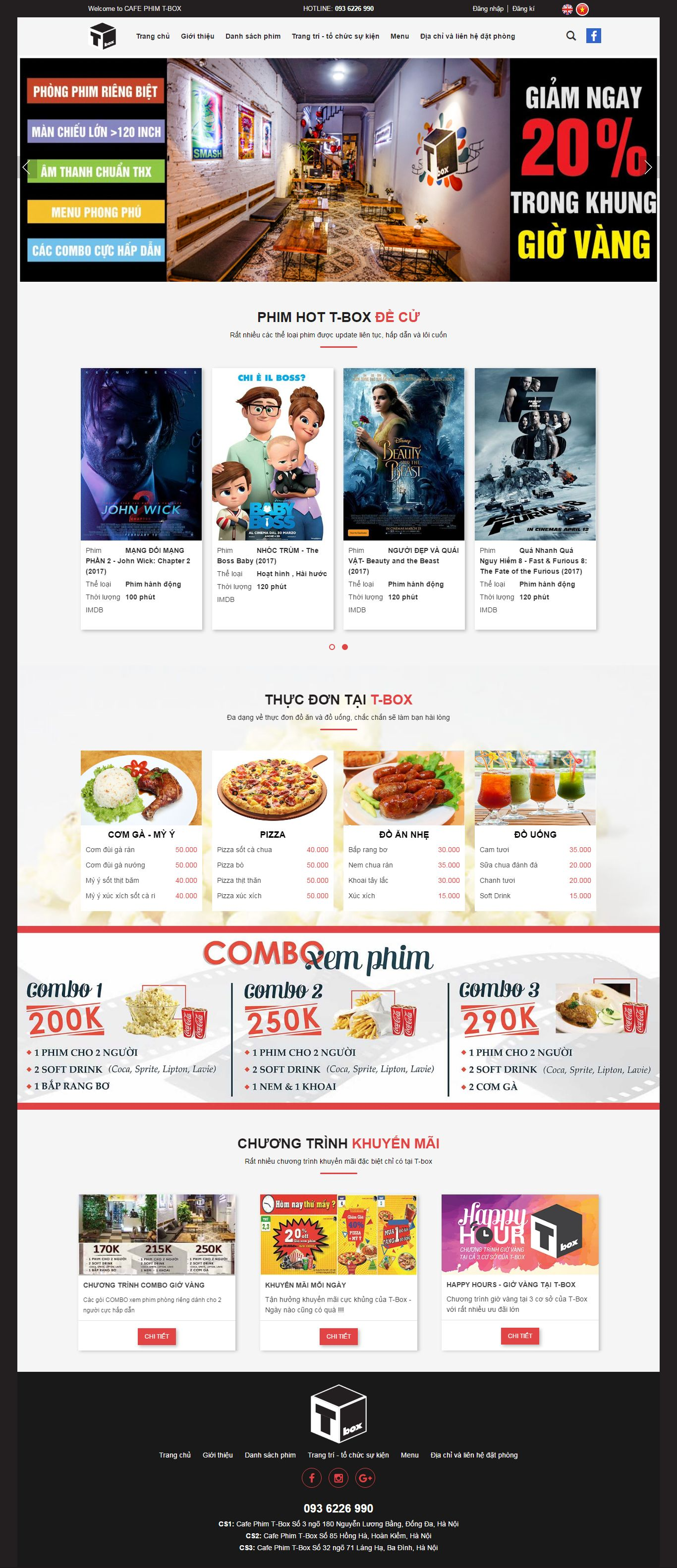 Thiết kế website Cafe phim T-Box