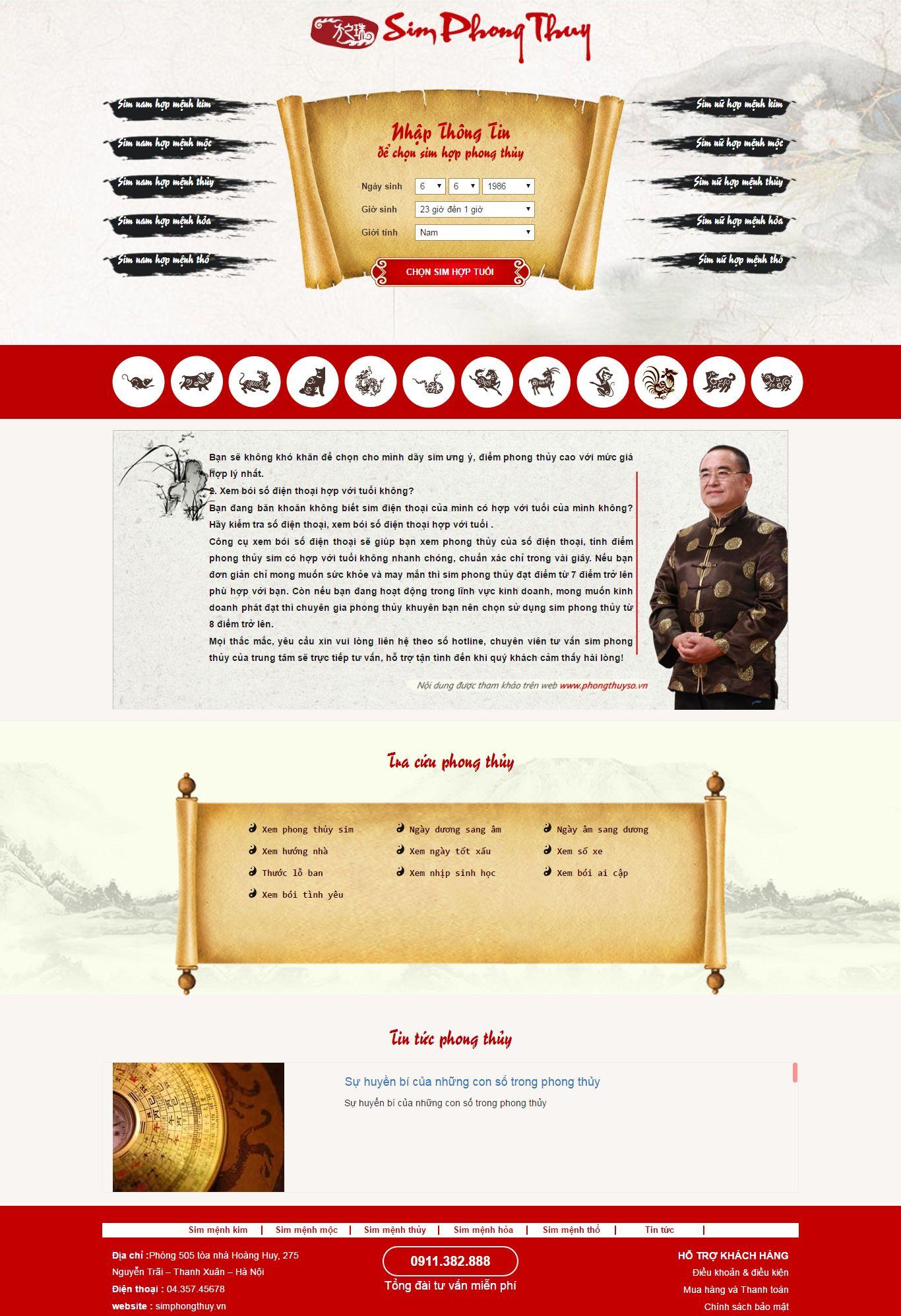 Thiết kế website sim phong thủy đẹp, chuyên nghiệp chuẩn SEO