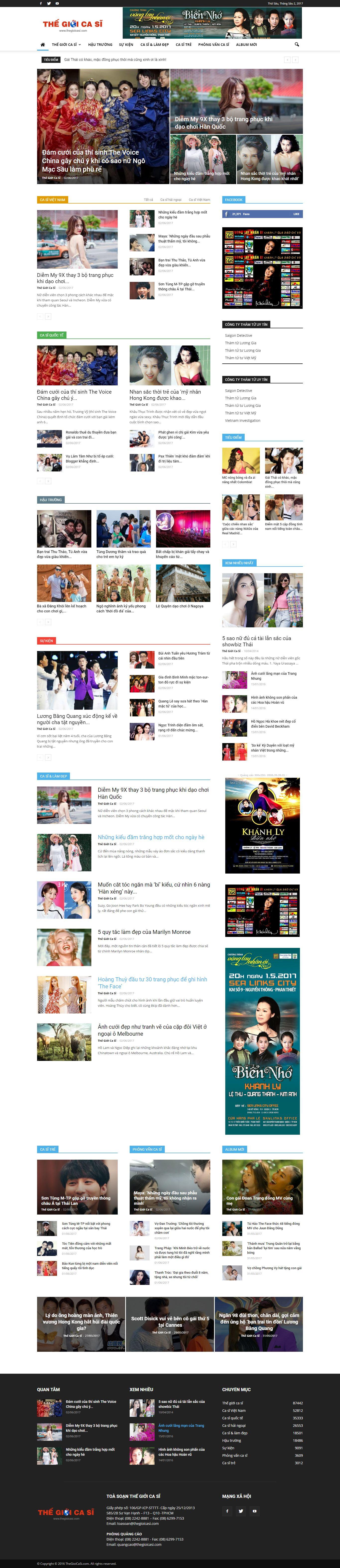 Thiết kế website thế giới ca sĩ đẹp, chuyên nghiệp chuẩn SEO