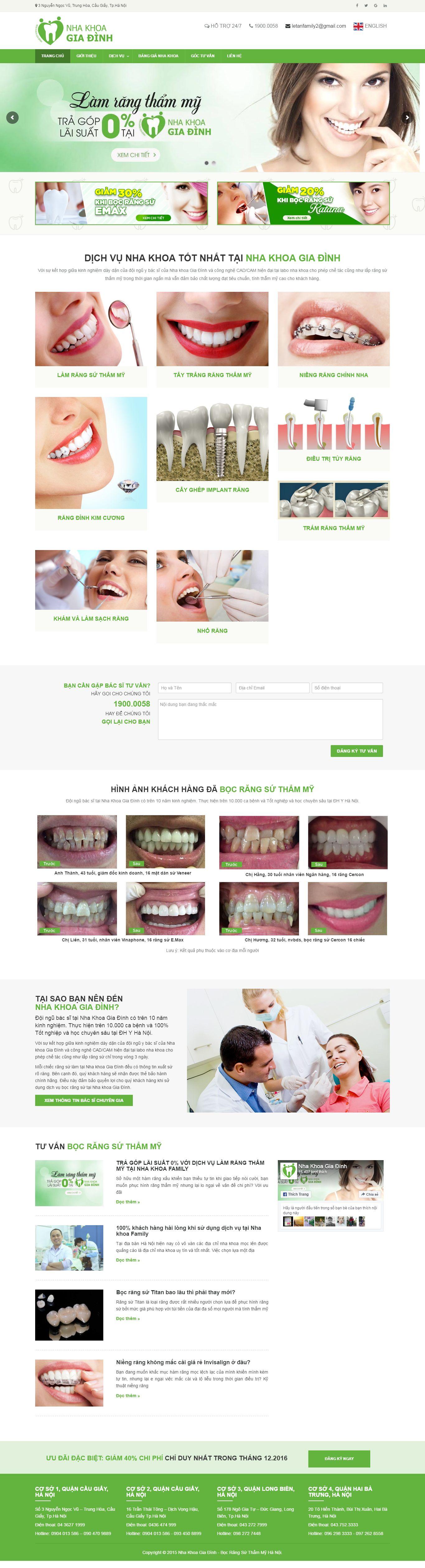 Thiết kế website nha khoa family đẹp, chuyên nghiệp chuẩn SEO