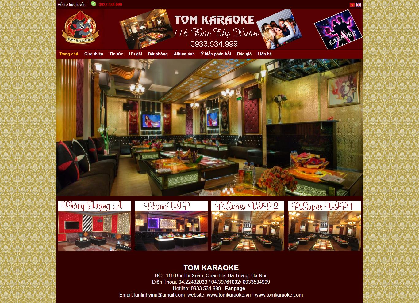 Thiết kế website karaoke Tom đẹp, chuyên nghiệp chuẩn SEO