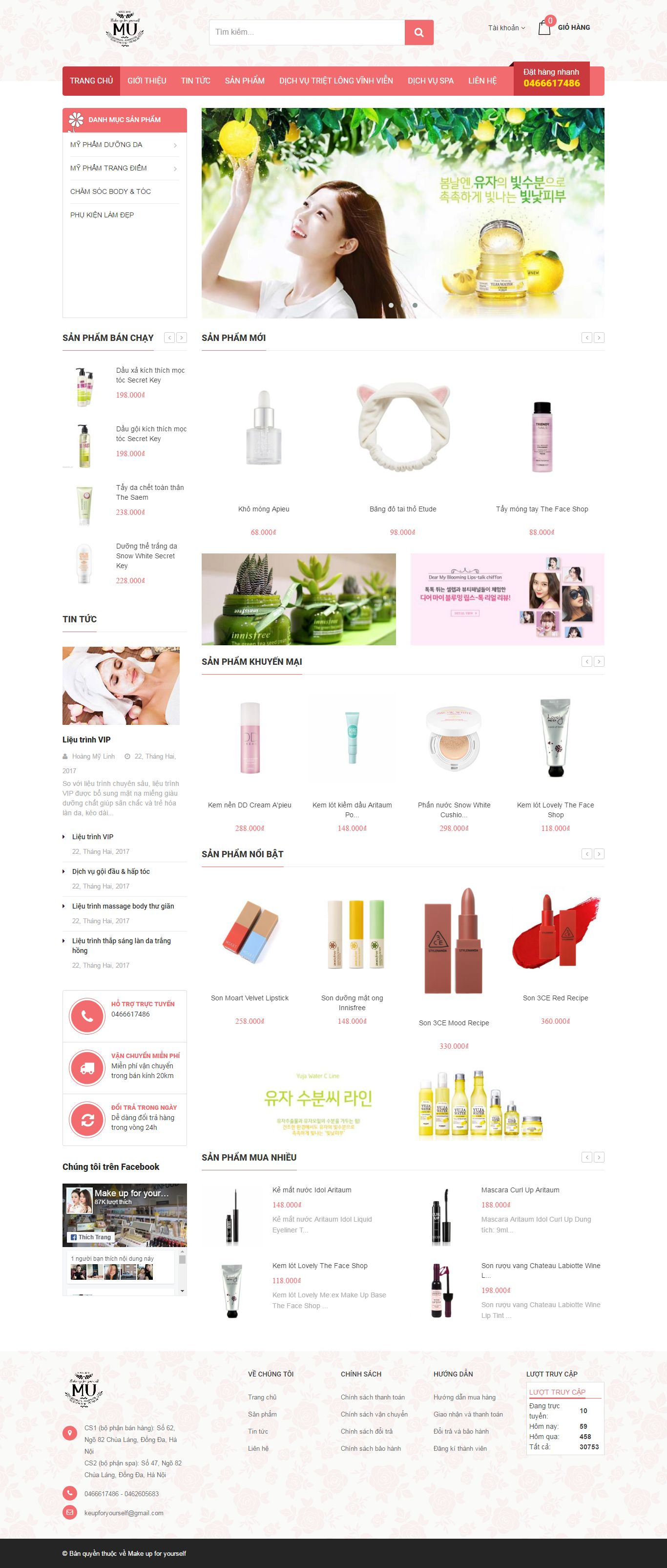 Thiết kế website shop mỹ phẩm Make up for yourself đẹp SEO tốt