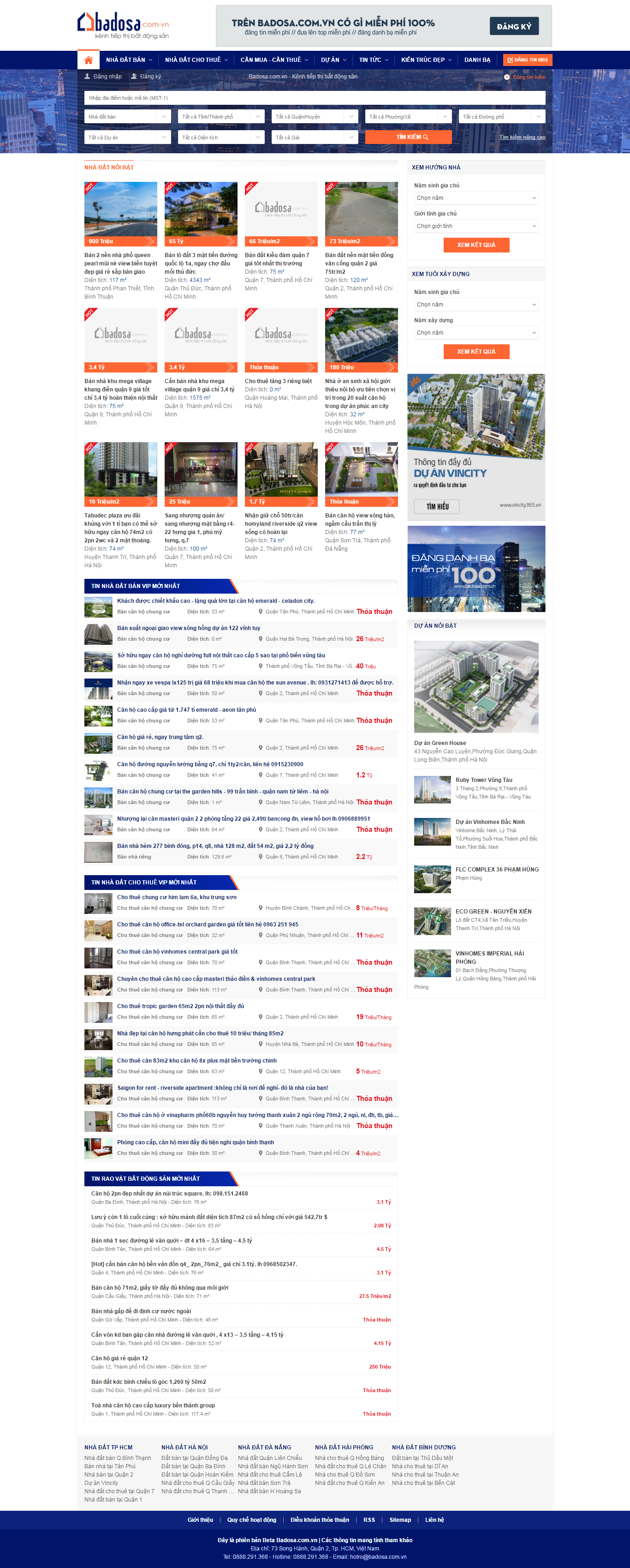 Thiết kế website bất động sản badosa đẹp, chuyên nghiệp chuẩn SEO