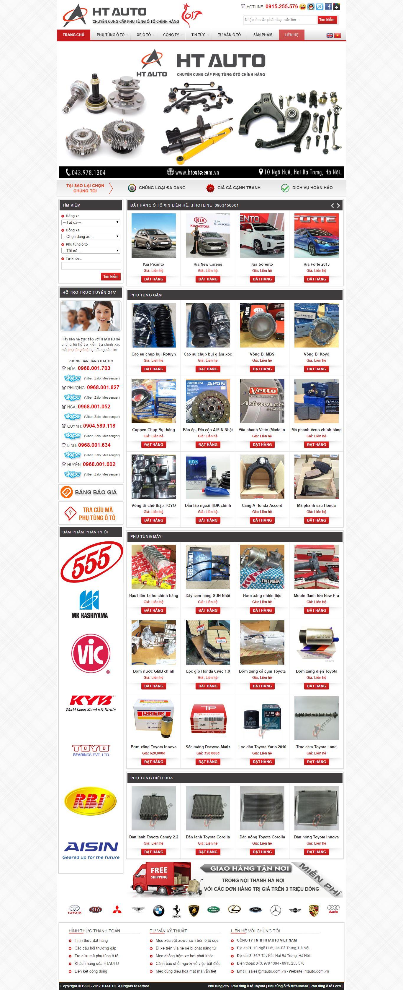 Thiết kế website phụ tùng ô tô HT Auto đẹp, chuyên nghiệp chuẩn SEO