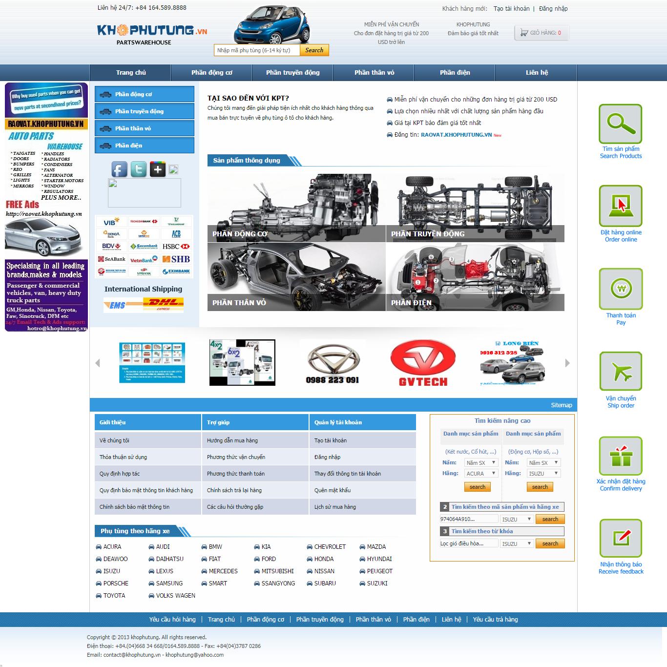 Thiết kế website phụ tùng ô tô chính hãng đẹp SEO nhanh hiệu quả