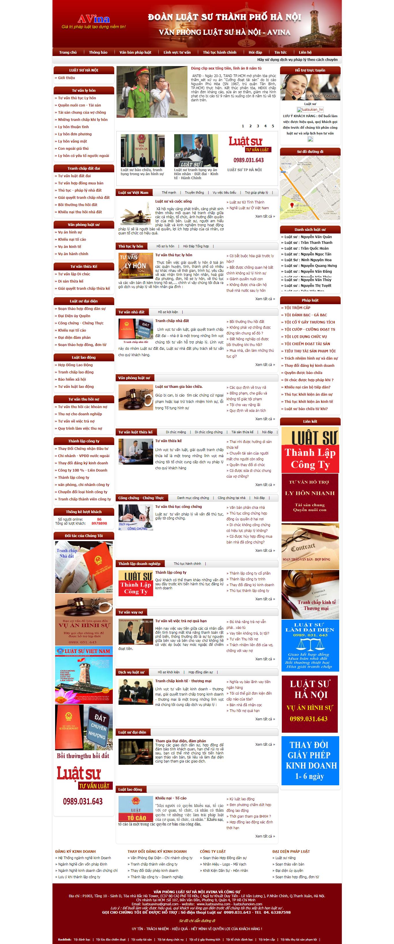 Thiết Kế Web Luật Công Ty Luật Avina đẹp, chuyên nghiệp chuẩn SEO