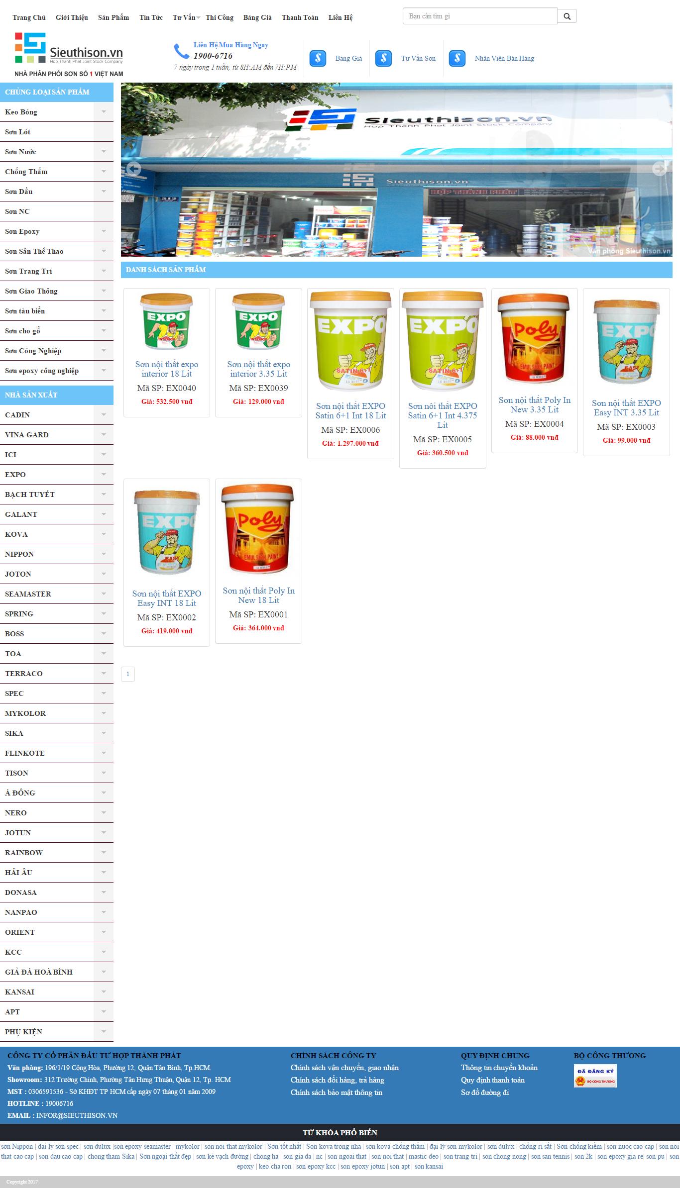 Thiết kế website các loại sơn nội thất, ngoại thất của Sieuthison.vn