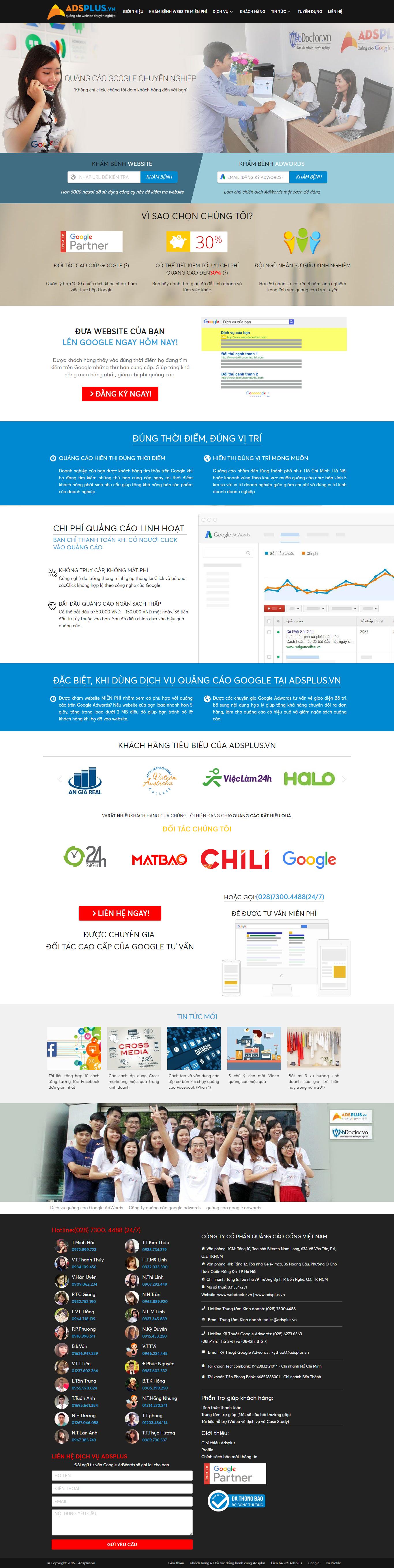 Thiết kế website quảng cáo google adwords chuyên nghiệp của Adsplus