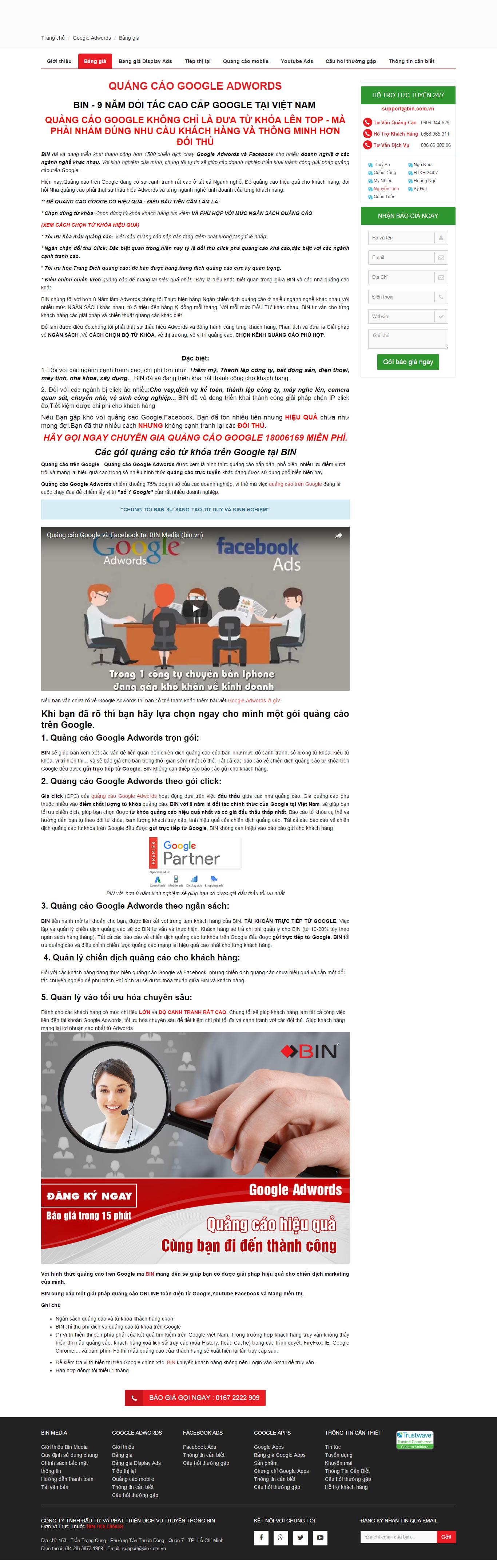 Thiết kế website quảng cáo google adwords chuyên nghiệp của Bin Holdings