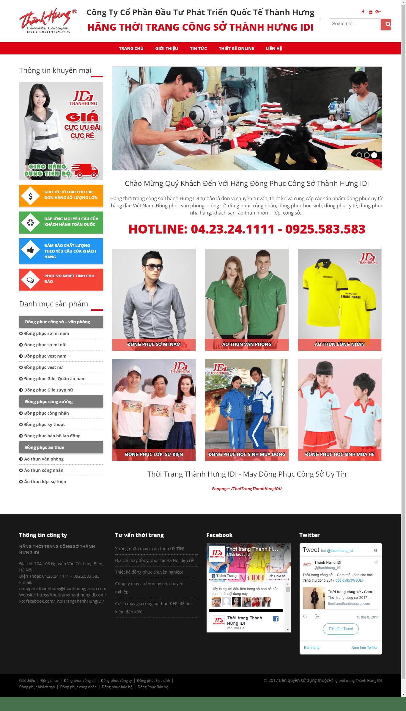 Thiết kế website hãng đồng phục công sở Thành Hưng ID
