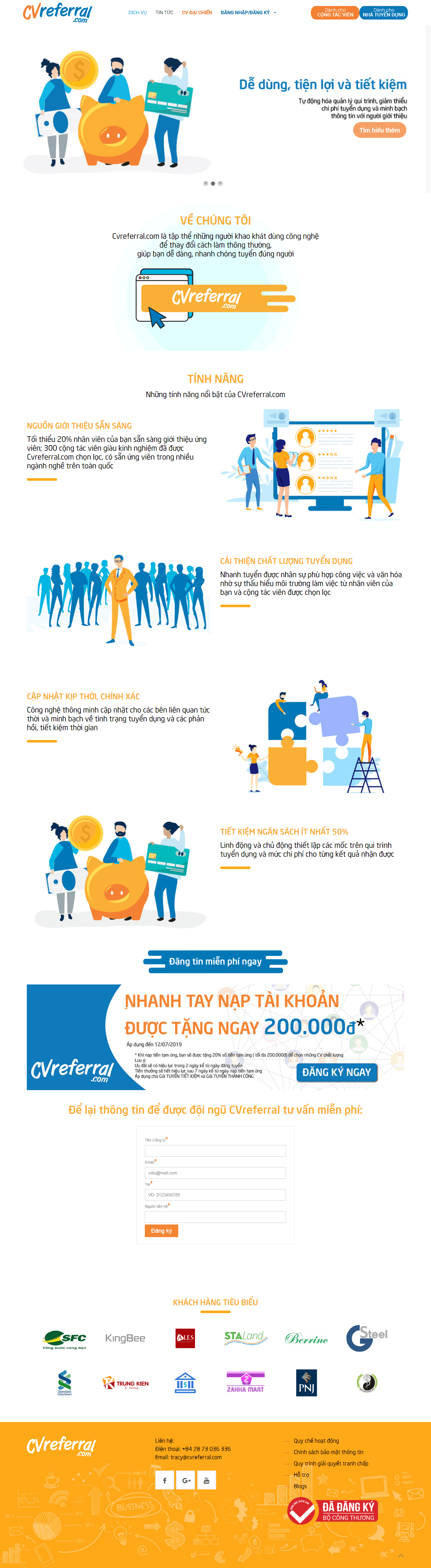 Thiết kế website tuyển dụng - cvreferral.com đẹp SEO nhanh hiệu quả