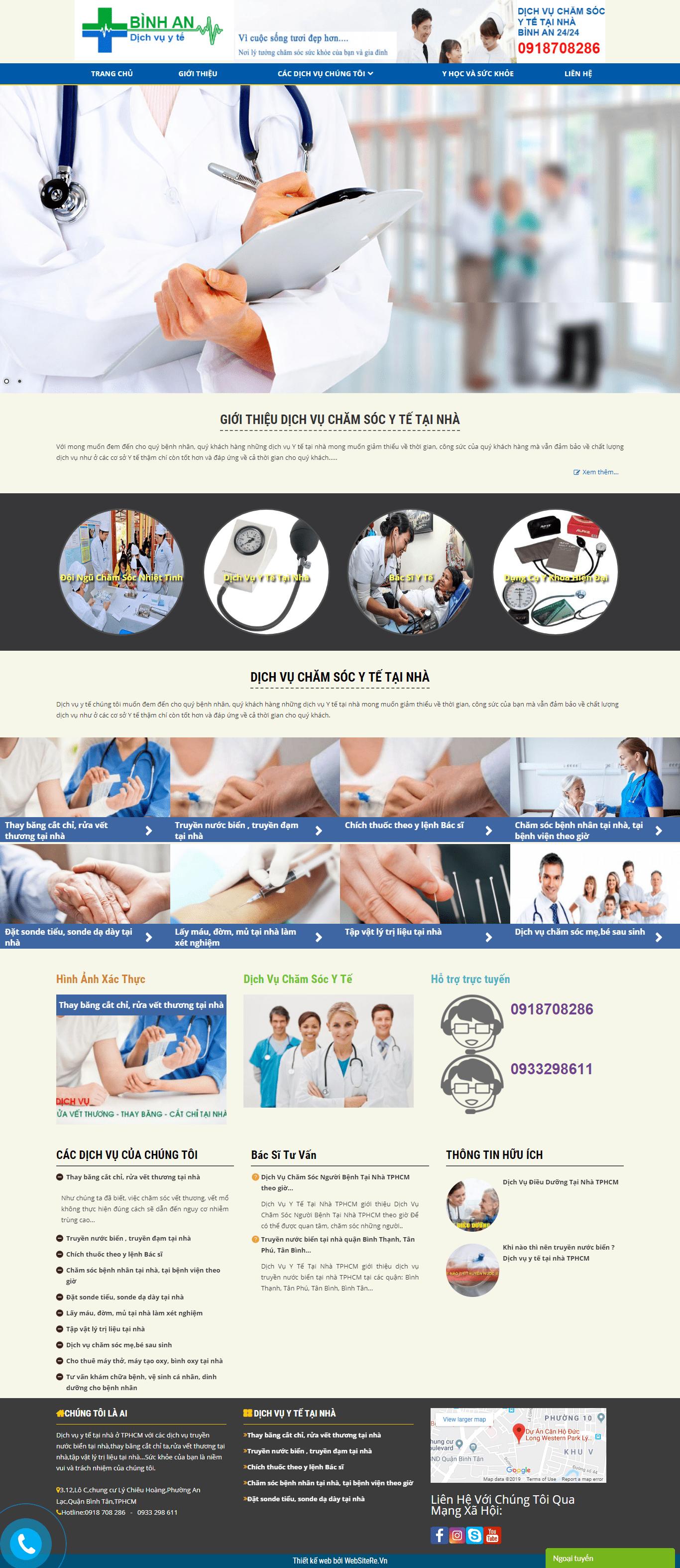 Thiết kế website y tế, uy tín chuyên nghiệp - dichvuytetainhabinhan.com