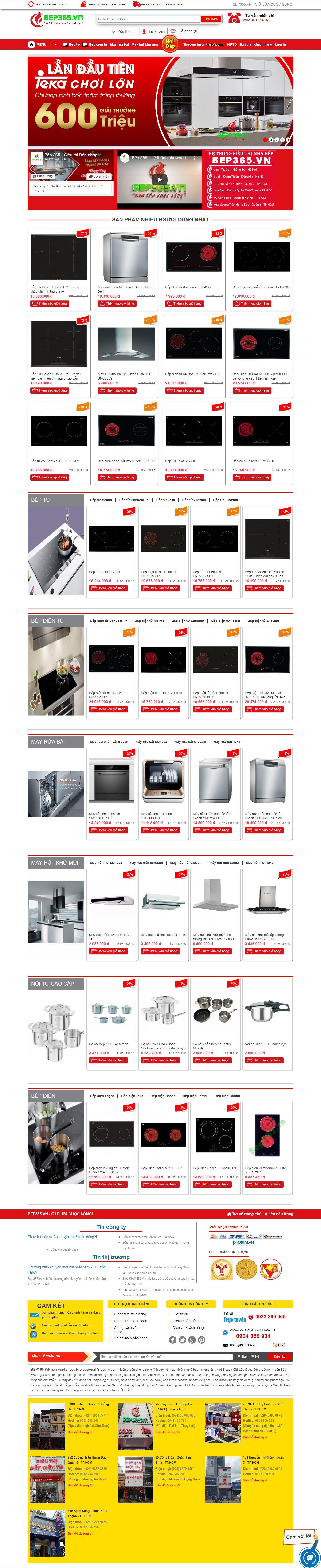Thiết Kế Web Bán Bếp Từ Bếp 365 đẹp, chuyên nghiệp chuẩn SEO