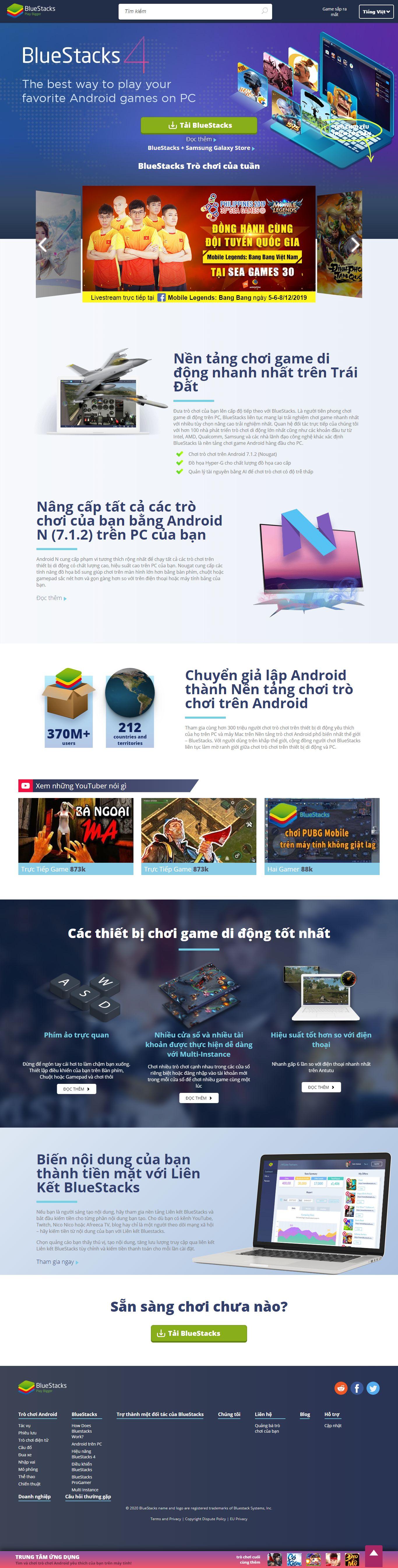 Thiết kế Web giới thiệu game, trò chơi điện tử - www.bluestacks.com