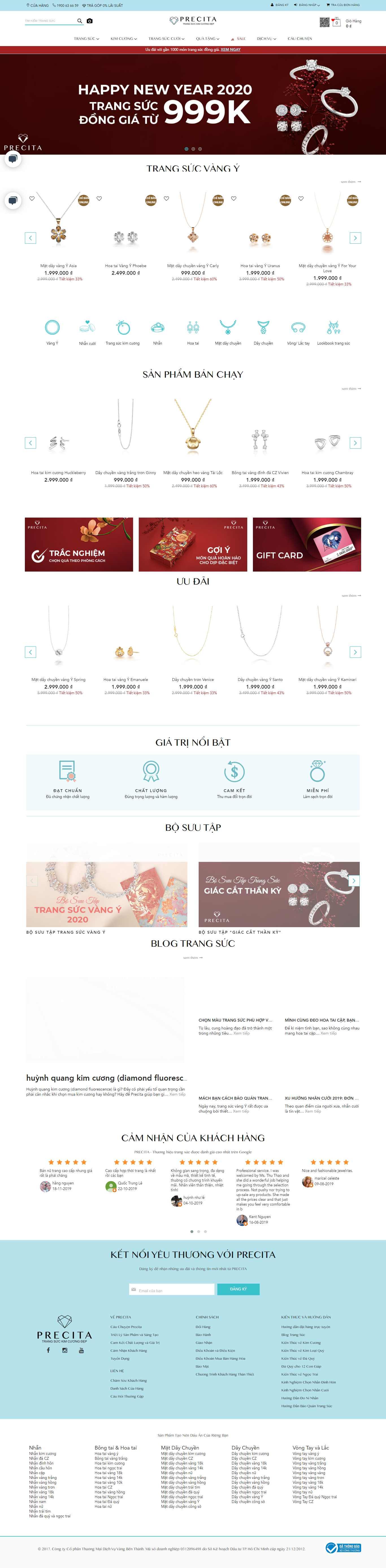 Thiết kế Web tiệm vàng bạc - precita.vn