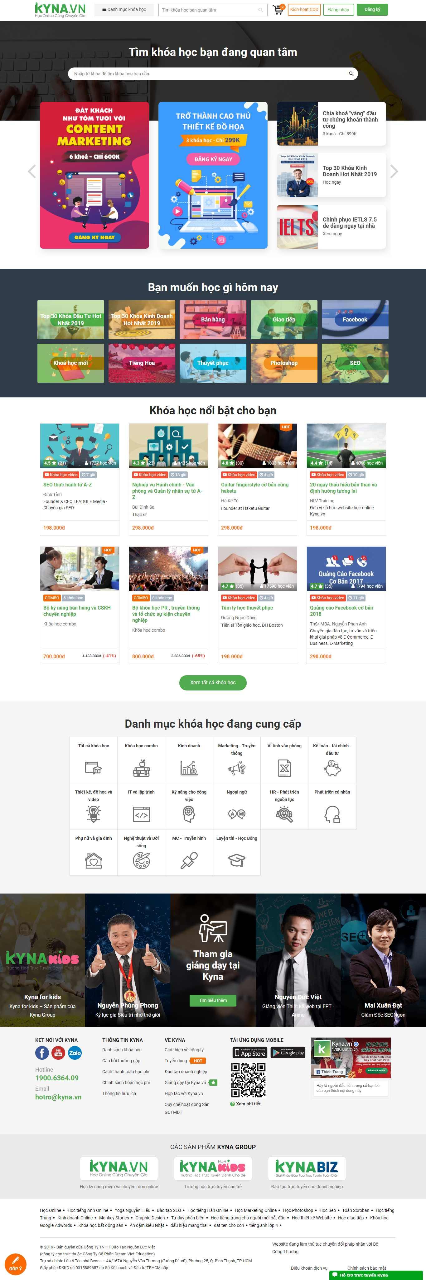 Thiết kế Web bán khoá học online - kyna.vn