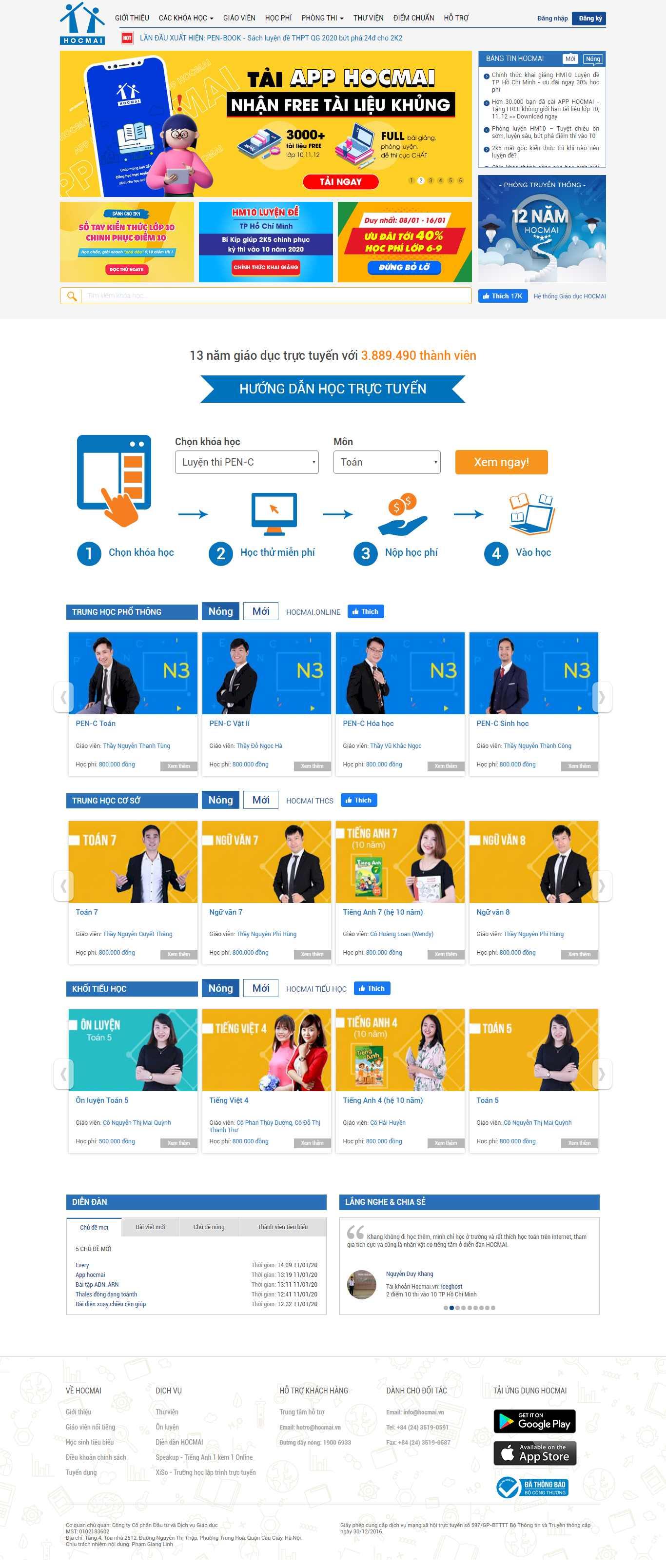 Thiết kế Web bán khoá học online - hocmai.vn