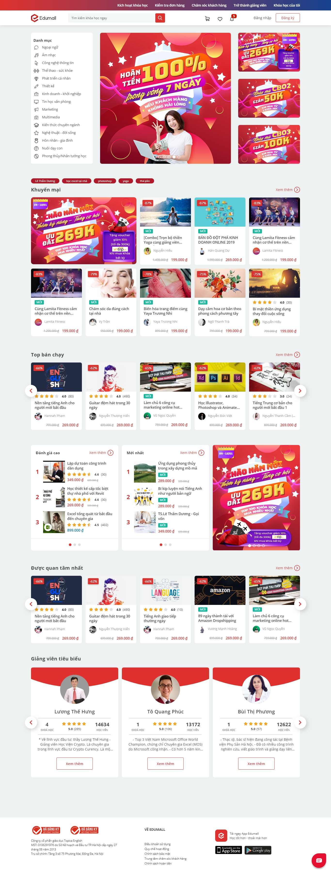 Thiết kế Web bán khoá học online - edumall.vn