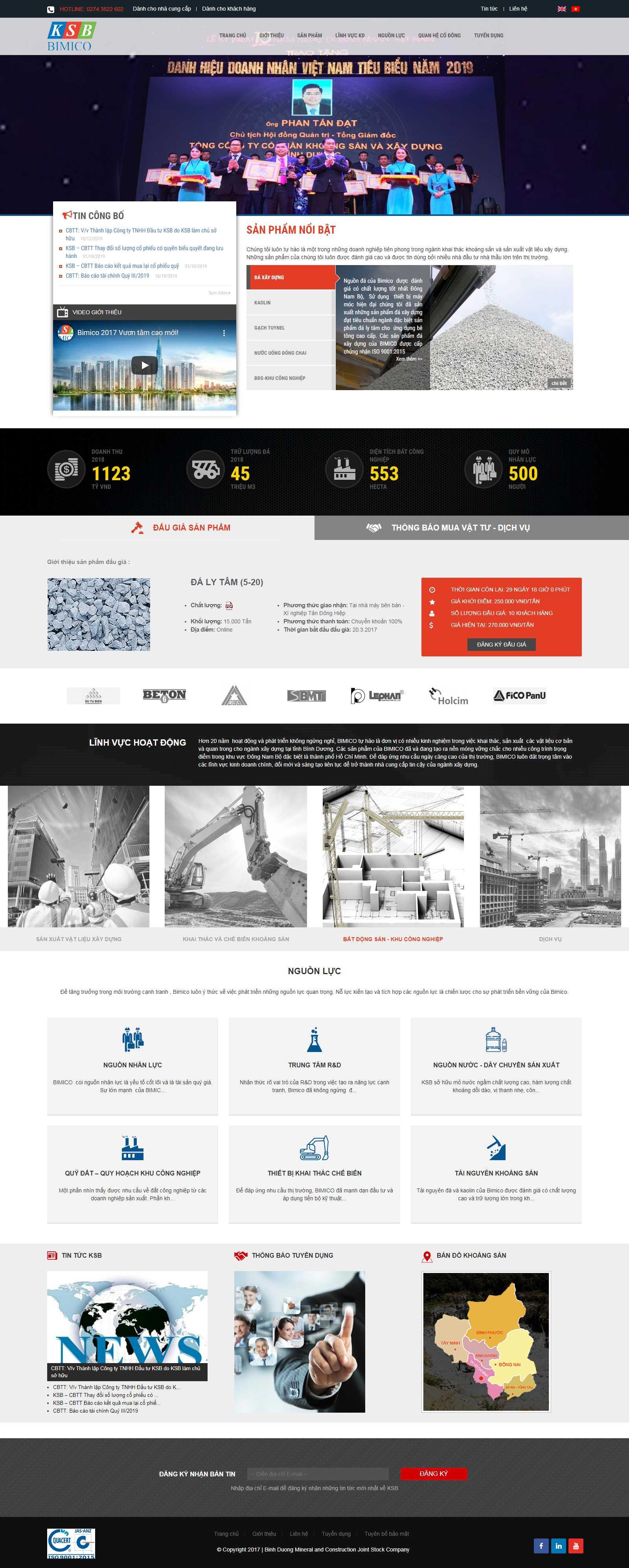 Thiết kế Web vật liệu xây dựng - bimico.com.vn