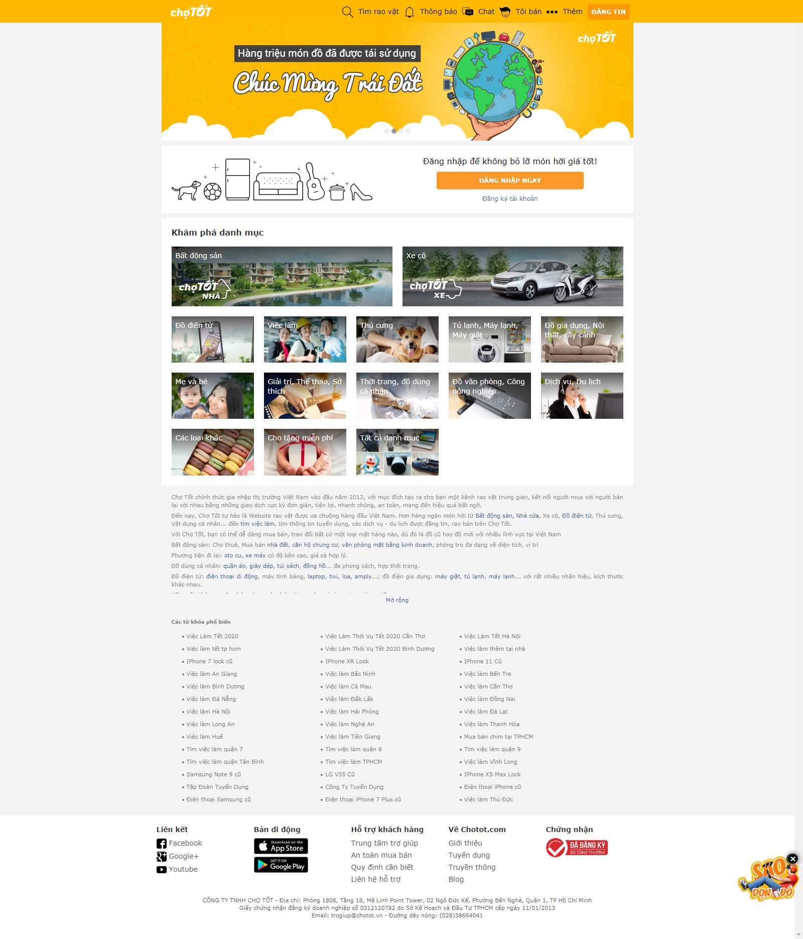 Thiết kế Web chợ online - www.chotot.com