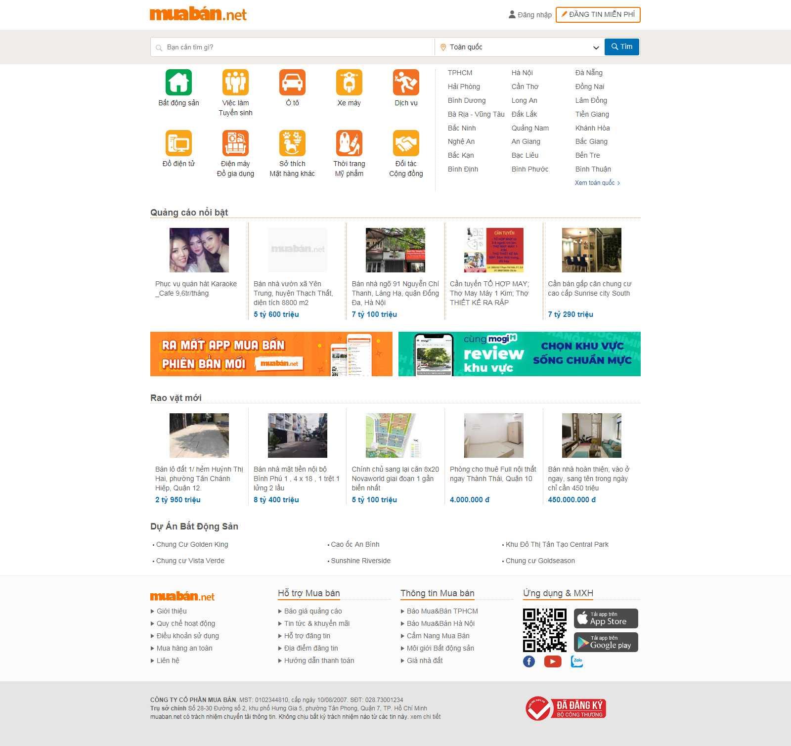 Thiết kế Web chợ online - muaban.net