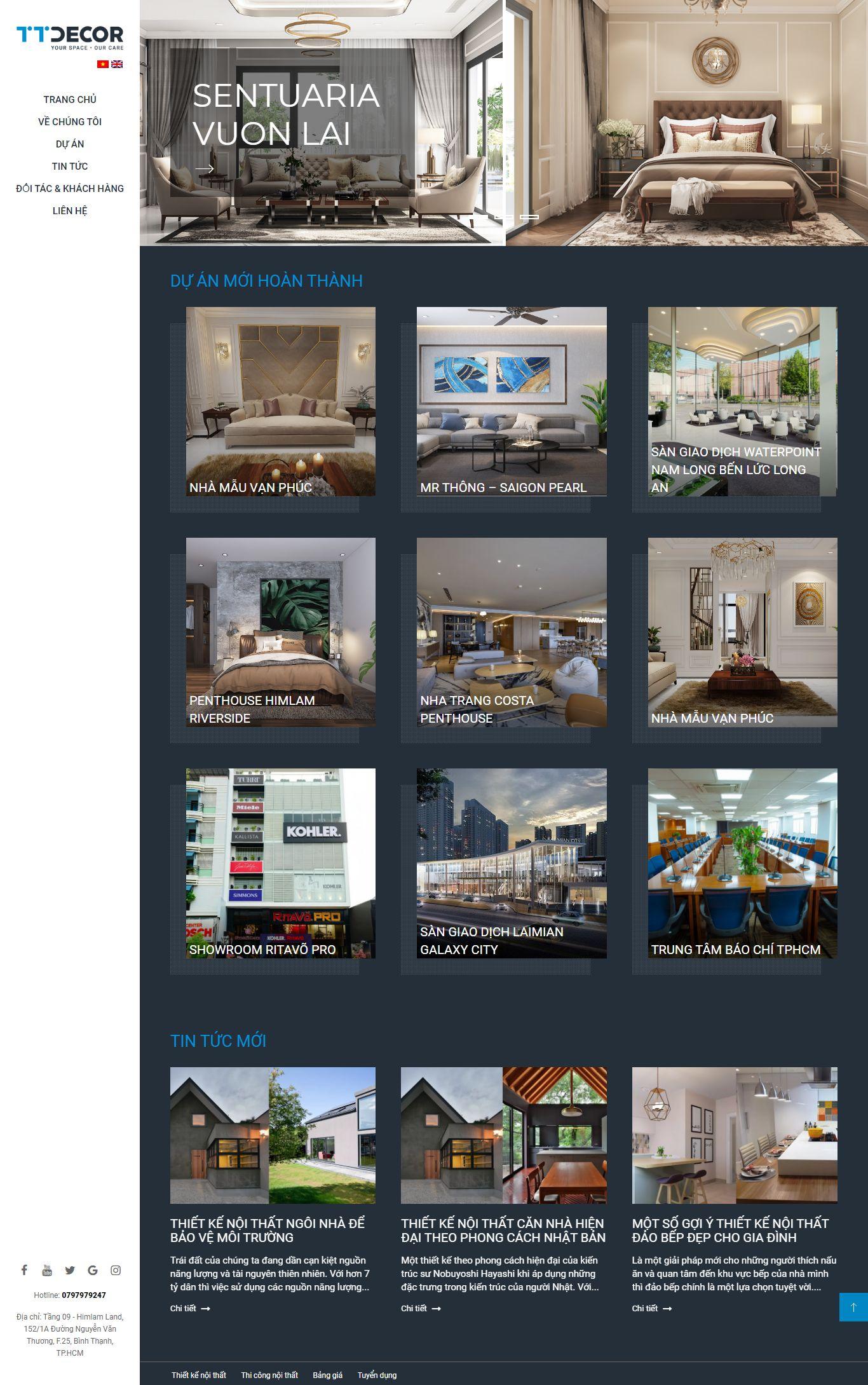 Thiết kế Web công ty nội thất - www.ttdecor.net