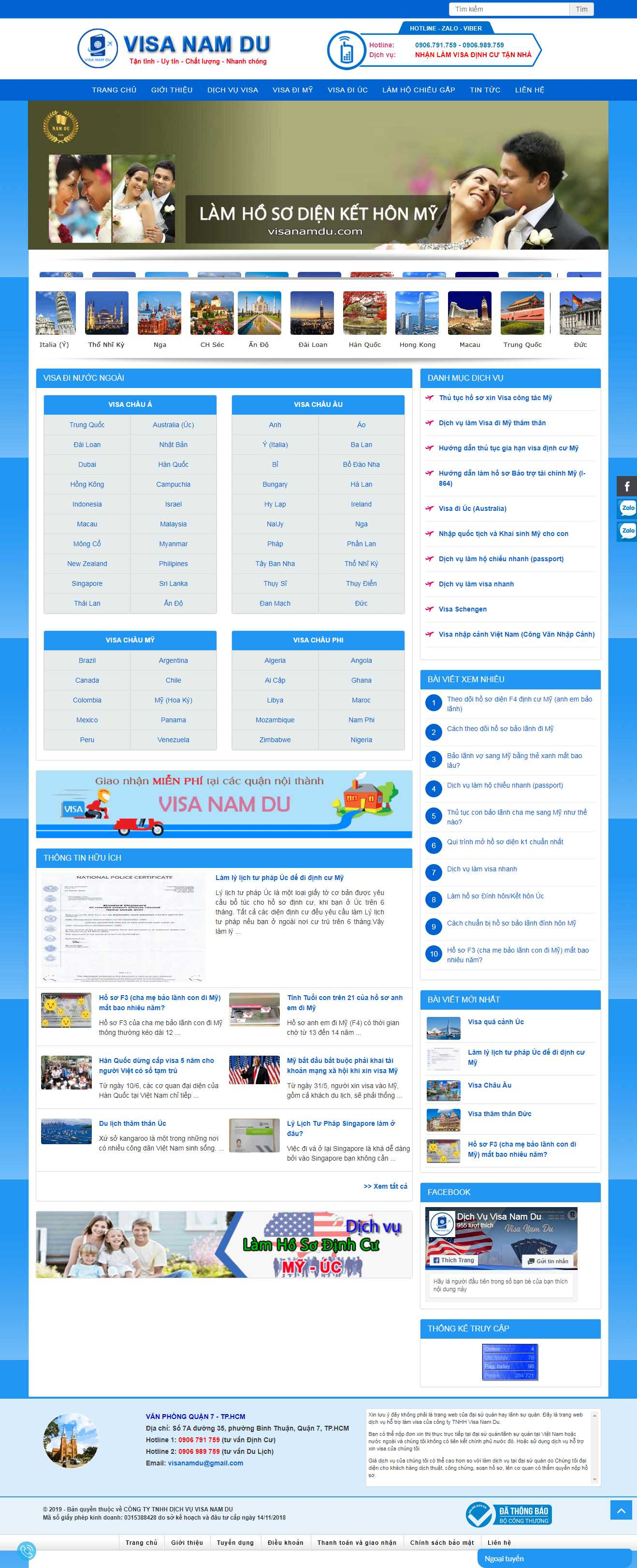 Thiết kế web dịch vụ visa - www.visanamdu.com