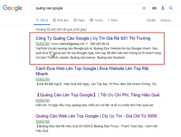 Quảng cáo Google quảng cáo tvc hiệu quả